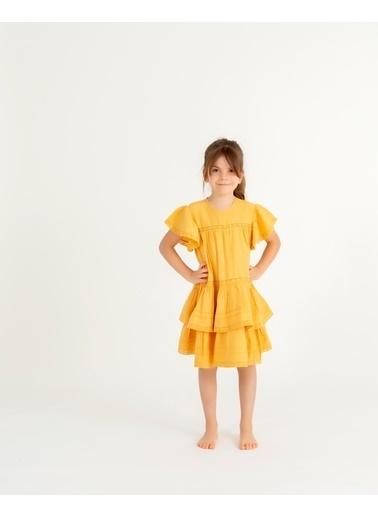Pinolini İşlemeli Elbise Hardal